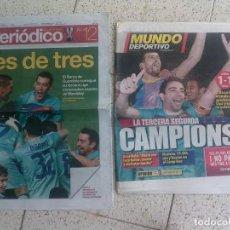 Coleccionismo deportivo: LOTE DE PERIODICO MUNDO DEPORTIVO Y PERIODICO ,TRES DE TRES Y CAMPIONS. Lote 136129906