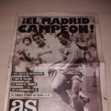 Coleccionismo deportivo: ANTIGUO PERIÓDICO AS - REAL MADRID - CAMPEÓN LIGA 1987. Lote 136157476