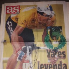 Coleccionismo deportivo: ANTIGUO PERIÓDICO AS - INDURÁIN - TOUR DE FRANCIA 1995. Lote 136157692