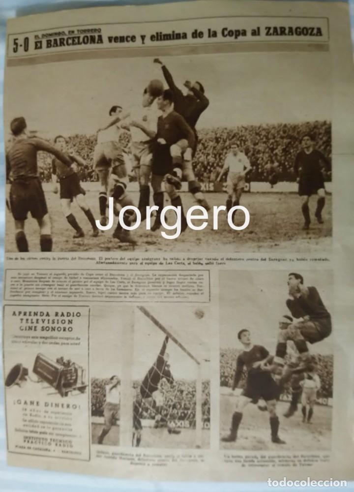 R. ZARAGOZA- F.C. BARCELONA. PARTIDO C. GENERALÍSIMO 1944-1945 EN EL TORRERO. HOJA DE REVISTA (Coleccionismo Deportivo - Revistas y Periódicos - Marca)