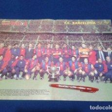 Coleccionismo deportivo: POSTER DOBLE PAGINA DON BALON PLANTILLA ( F.C. BARCELONA ) TEMPORADA 98/99. Lote 136411886
