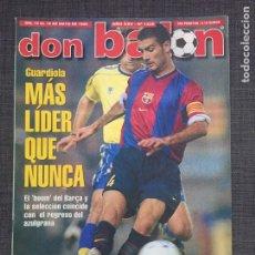 Coleccionismo deportivo: DON BALÓN 1230 - GUARDIOLA - PÓSTER RAÚL - REAL MADRID - ARSENAL - MALLORCA - BRÍNDISI - ESPAÑA. Lote 136848269