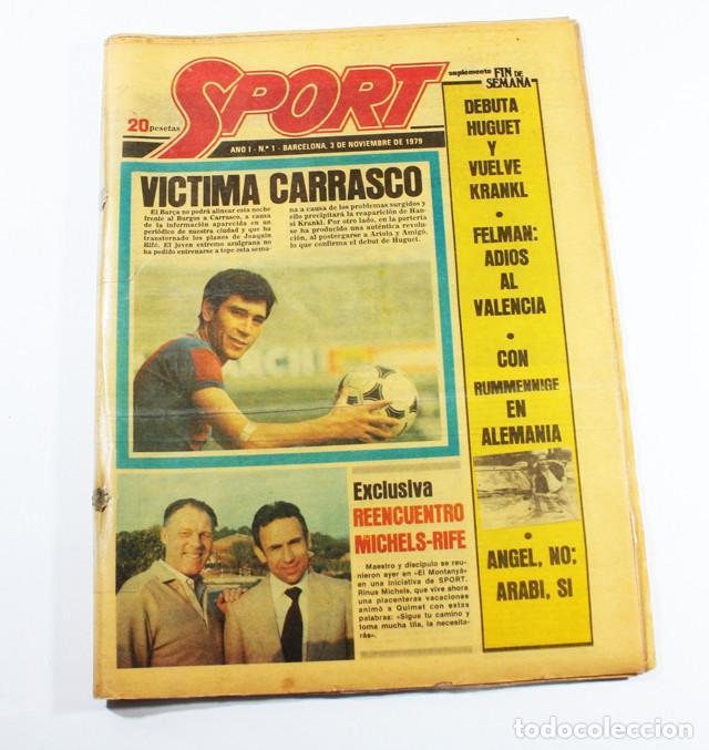 PERIODICO DEPORTIVO SPORT Nº 1, BARCELONA 3 NOVIEMBRE 1979, COMPLETO ESTA PLASTIFICADO, FUTBOL (Coleccionismo Deportivo - Revistas y Periódicos - Sport)