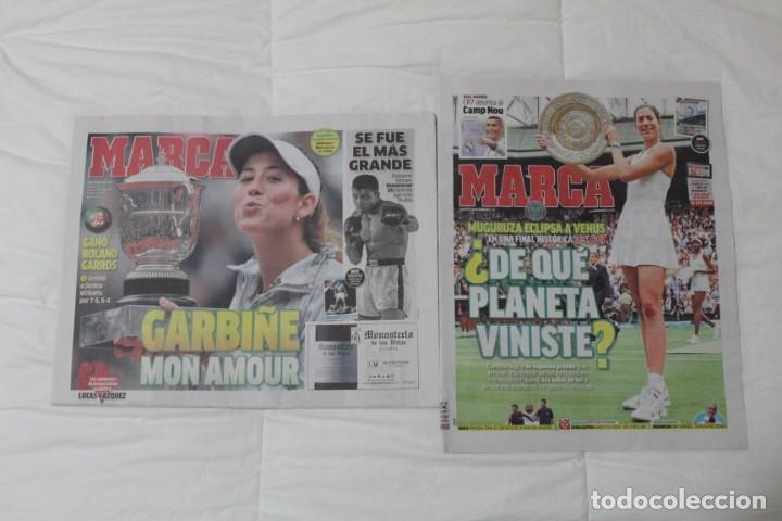LOTE DIARIO MARCA. GARBIÑE MUGURUZA GANA SU PRIMER ROLAND GARROS Y WIMBLENDON (2016, 2017) (Coleccionismo Deportivo - Revistas y Periódicos - Marca)