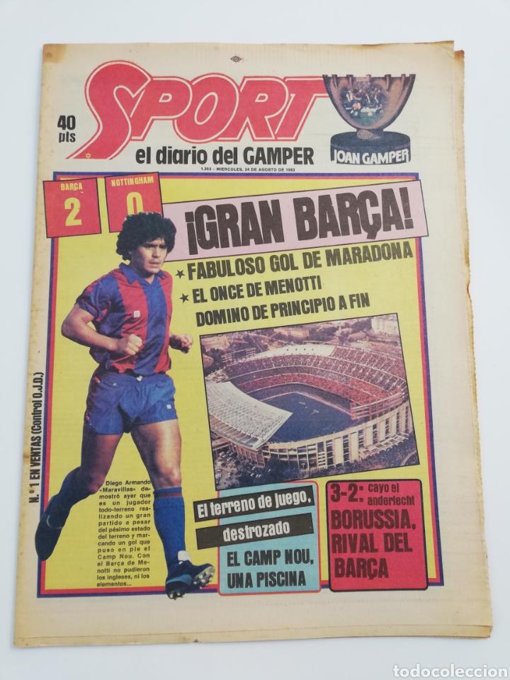 DIARIO SPORT FC BARCELONA NOTTINGHAM FOREST TROFEO JOAN GAMPER 24 AGOSTO 1983, MARADONA BARÇA 83 (Coleccionismo Deportivo - Revistas y Periódicos - Sport)