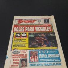 SPORT. N° 4.492. 17/05/1992. FINAL COPA EUROPA. BACELONA VS SAMPDORIA. DIARIO DE LA FINAL.