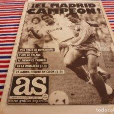 Colecionismo desportivo: AS(15-6-87)!!! EL R.MADRID CAMPEÓN DE LIGA !!! ZARAGOZA 1 R.MADRID 3,CITROEN BX ATHENA. Lote 142097070