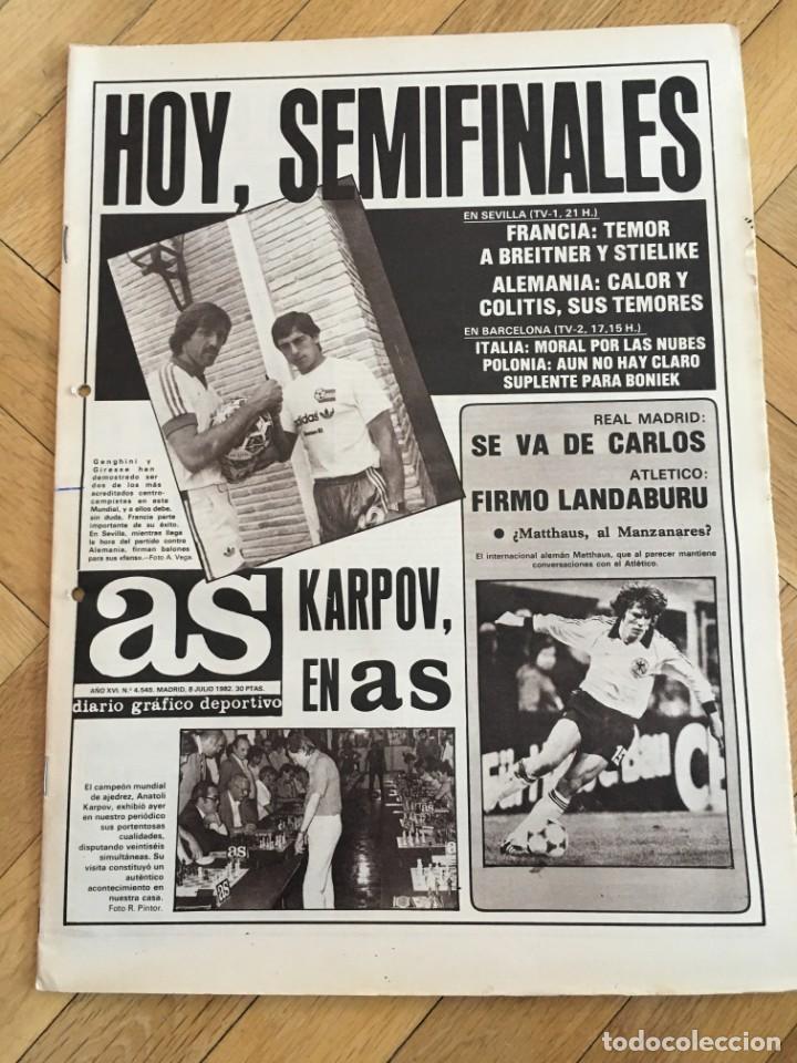 AS(8-7-1982) SEMIFINAL MUNDIAL ESPAÑA KARPOV FRANCIA ALEMANIA ITALIA  POLONIA BRASIL