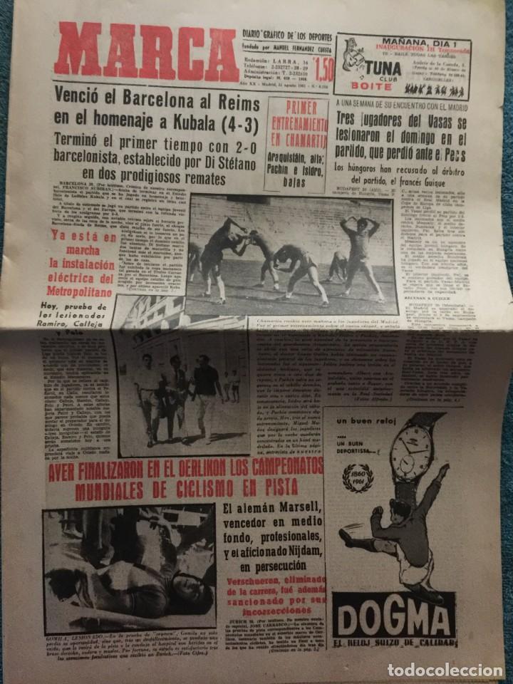 MARCA 31-8-1961 HOMENAJE A KUBALA BARCELONA, 4 - STADE REIMS, 3 (Coleccionismo Deportivo - Revistas y Periódicos - Marca)
