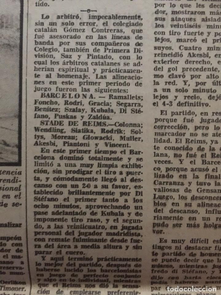Coleccionismo deportivo: MARCA 31-8-1961 HOMENAJE A KUBALA BARCELONA, 4 - STADE REIMS, 3 - Foto 4 - 144556278