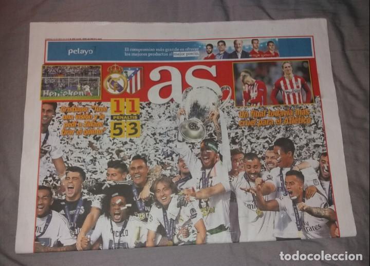 Coleccionismo deportivo: Periódico As. Real Madrid campeón de Europa 2016, 11ª, la undécima. Previa y título. Nuevos - Foto 2 - 147619102