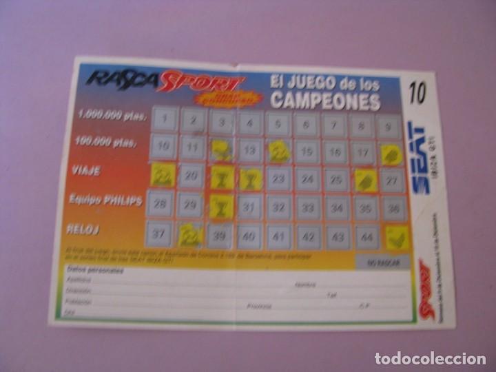 Coleccionismo deportivo: RASCA SPORT. EL JUEGO DE LOS CAMPEONES. SORTEO DE UN SEAT IBIZA. AÑOS 90. - Foto 2 - 147698250