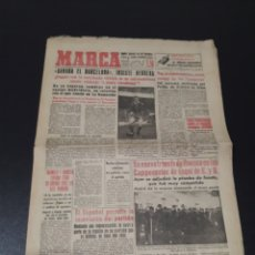 Coleccionismo deportivo: MARCA 12/02/1959. BARCELONA V R.MADRID LUIS SUAREZ MURCIA SABADELL JUST FONTAINE PASIEGUITO.. Lote 148038522