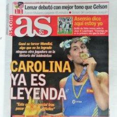 Coleccionismo deportivo: AS: CAROLINA MARIN GANA SU TERCER MUNDIAL DE BADMINTON. Lote 148395842