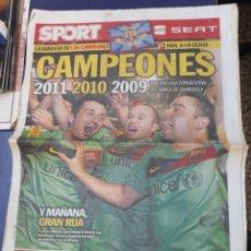 Colecionismo desportivo: SPORT 12 DE MAYO DE 2011 N°11367 BARCELONA CAMPEON DE LIGA TRICAMPEON GUARDIOLA. Lote 150651722
