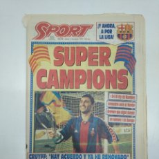 Coleccionismo deportivo: DIARIO SPORT JUEVES 11 MARZO 1993. SUPER CAMPIONS. BARSA 2 WERDER BREMEN 1. TDKPR3. Lote 151008070