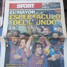 Colecionismo desportivo: SPORT 19 DICIEMBRE 2011 N° 11588 BARCELONA CAMPEON MUNDIALITO DE CLUBES 4-0 AL SANTOS CON POSTER. Lote 151035736