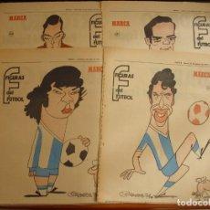 Coleccionismo deportivo: 13 HOJAS DEL ESPAÑOL SERIAL FIGURAS DEL FUTBOL POR EL MAESTRO CRONOS CARICATURA Y AUTOBIOGRAFIA. Lote 151164910