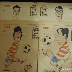 Coleccionismo deportivo: 13 HOJAS DEL GRANADA SERIAL FIGURAS DEL FUTBOL POR EL MAESTRO CRONOS CARICATURA Y AUTOBIOGRAFIA. Lote 151166034