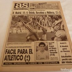 Collectionnisme sportif: AS(6-11-89)AT.MADRID 4 CASTELLÓN 1,TENERIFE 1 RAYO 0,BALTASAR Y MANOLO GOLES,SE CASA MARADONA.. Lote 151340202