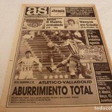 Coleccionismo deportivo: AS(19-2-90)AT.MADRID 1 VALLADOLID 0,MALAGA 1 R.MADRID 2,HUGO SANCHEZ,RAYO 1 BARÇA 4.. Lote 151570830