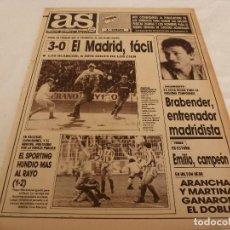 Coleccionismo deportivo: AS(9-4-90)R.MADRID 3 CELTA 0,RAYO 1 SPORTING 2,BARÇA 2 VALENCIA 1,AT.MADRILEÑO 2 EIBAR 0.. Lote 151573154