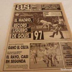 Coleccionismo deportivo: AS(23-4-90) !!R.MADRID 3 LOGROÑÉS 3 !!!RAYO 0 CADIZ 1 !!! HUGO SANCHEZ REY DEL GOL !!!. Lote 151573634