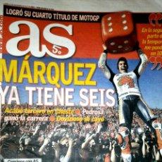 Coleccionismo deportivo: DIARIO AS MÁRQUEZ CAMPEÓN SEXTO TÍTULO MOTOCICLISMO 2017. Lote 151711965