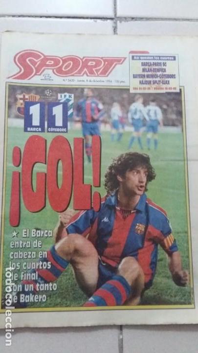 DIARIO SPORT. N 5420. 08 DICIEMBRE 1994 (Coleccionismo Deportivo - Revistas y Periódicos - Sport)