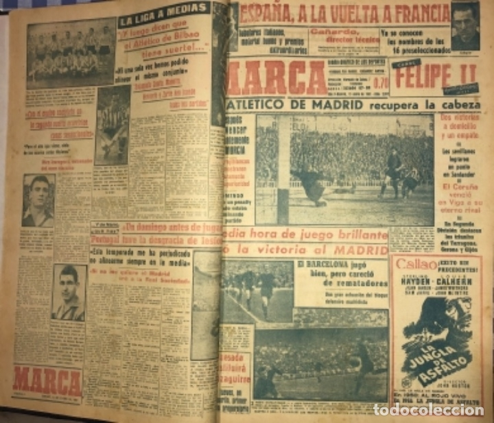 Coleccionismo deportivo: MARCA- DIARIO GRAFICO DE DEPORTES - AÑO 1.951 - UN VOLUMEN CON 72 EJEMPLARES - Foto 2 - 153827270