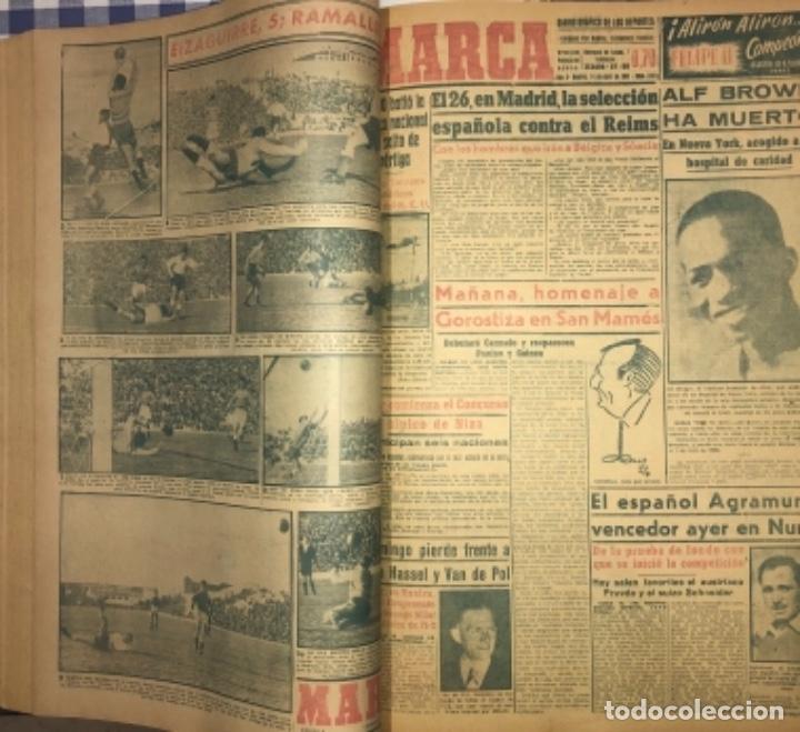 Coleccionismo deportivo: MARCA- DIARIO GRAFICO DE DEPORTES - AÑO 1.951 - UN VOLUMEN CON 72 EJEMPLARES - Foto 4 - 153827270