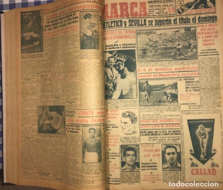 Coleccionismo deportivo: MARCA- DIARIO GRAFICO DE DEPORTES - AÑO 1.951 - UN VOLUMEN CON 72 EJEMPLARES - Foto 6 - 153827270