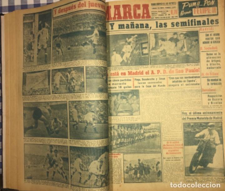 Coleccionismo deportivo: MARCA- DIARIO GRAFICO DE DEPORTES - AÑO 1.951 - UN VOLUMEN CON 72 EJEMPLARES - Foto 7 - 153827270