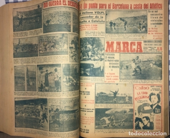 Coleccionismo deportivo: MARCA- DIARIO GRAFICO DE DEPORTES - AÑO 1.951 - UN VOLUMEN CON 72 EJEMPLARES - Foto 18 - 153827270
