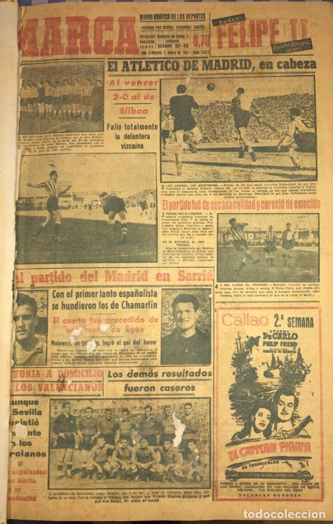Coleccionismo deportivo: MARCA- DIARIO GRAFICO DE DEPORTES - AÑO 1.951 - UN VOLUMEN CON 72 EJEMPLARES - Foto 23 - 153827270