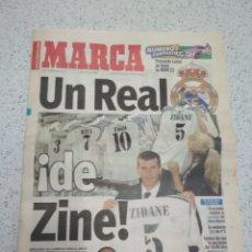 Coleccionismo deportivo: PERIÓDICO MARCA FICHAJE ZIDANE POR EL REAL MADRID. Lote 158448733