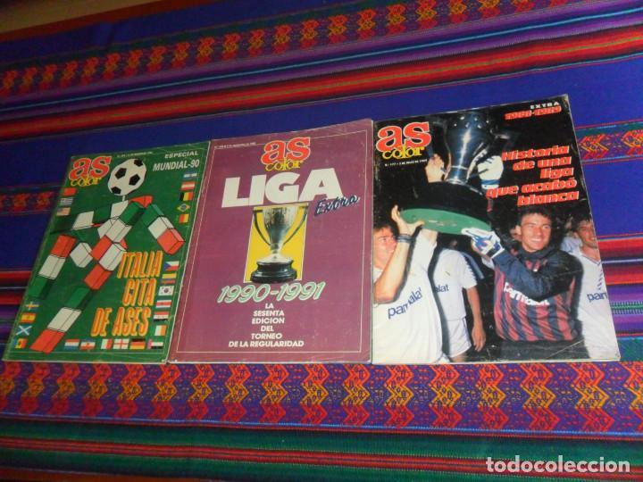 AS COLOR EXTRA LIGA 1988 1989, 1990 1991 Y ESPECIAL MUNDIAL ITALIA 90. PÓSTER REAL MADRID Y ESPAÑA. (Coleccionismo Deportivo - Revistas y Periódicos - As)