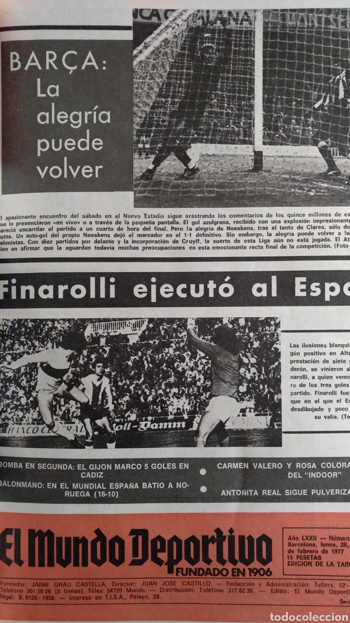Coleccionismo deportivo: COMPILACIÓN ENCUADERNADA DE 22 EJEMPLARES DEL MUNDO DEPORTIVO - Foto 2 - 159511010