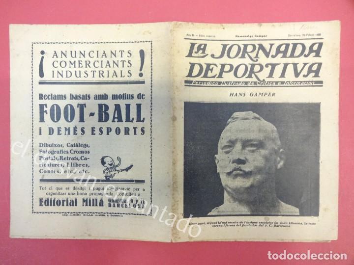LA JORNADA DEPORTIVA. NUMERO ESPECIAL DESPLEGABLE HOMENATGE GAMPER. AÑO 1923. FC BARCELONA (Coleccionismo Deportivo - Revistas y Periódicos - La Jornada Deportiva)