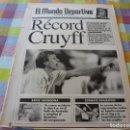 Coleccionismo deportivo: MUNDO DEPORTIVO(23-9-91)RECORD DE CRUYFF,LAUDRUP(BARÇA)FORD ESCORT RS-2000. Lote 160348206
