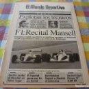 Coleccionismo deportivo: MUNDO DEPORTIVO(30-9-91)FORMULA 1 MANSELL EN MONTMELÓ,JOHAN CRUYFF,U.D.A.GRAMENET,GASCOIGNE. Lote 160350854