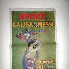 Coleccionismo deportivo: DIARIO PERIÓDICO SPORT 28-04-19 FC BARCELONA CAMPEÓN LIGA Nº 26 LIONEL MESSI BARÇA CAMPEONES TÍTULO. Lote 161602550