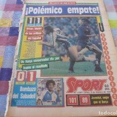Coleccionismo deportivo: SPORT(9-2-87)EN SARRIÁ EMPATE ESPAÑOL 1 BARÇA 1 Y BOMBAZO SEVILLA 0 SABADELL 1,R.MADRID 3 RACING 0. Lote 163430538