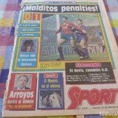 Coleccionismo deportivo: SPORT(12-2-87)OSASUNA 0 BARÇA 1 !!PERO ELIMINADOS DE LA COPA POR PENALTIES !!!LAURIDSEN(ESPAÑOL). Lote 163430602