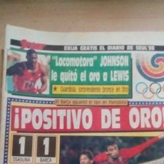 Coleccionismo deportivo: DIARIO SPORT - OSASUNA 1-BARÇA 1 - 26/09/1988. Lote 163584378