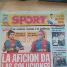 Coleccionismo deportivo: DIARIO SPORT - LA AFICIÓN DA SOLUCIONES- 24/10/2006. Lote 163590278