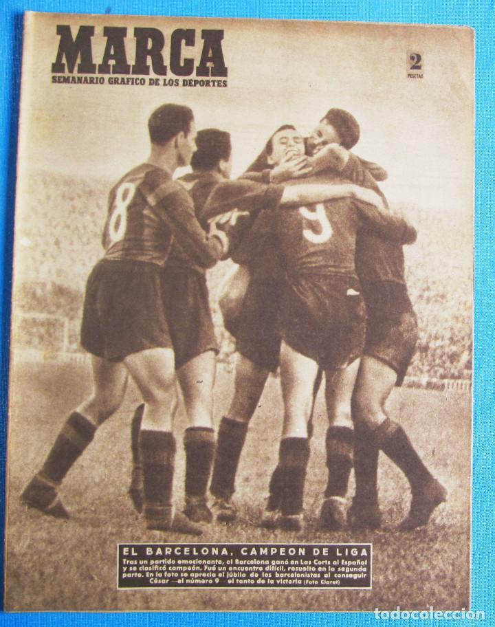 MARCA. SEMANARIO GRÁFICO DE LOS DEPORTES. 19 DE ABRIL 1949. LIGA DE FÚTBOL, BARCELONA CAMPEÓN. (Coleccionismo Deportivo - Revistas y Periódicos - Marca)