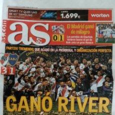 Coleccionismo deportivo: PERIÓDICO AS RIVER CAMPEÓN LIBERTADORES. Lote 166573337