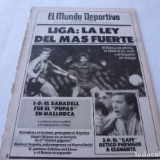Coleccionismo deportivo: MUNDO DEPORTIVO(19-1-87) BETIS 2 ESPAÑOL 9,N `KONO,MARADONA,CLEMENTE,BARÇA.. Lote 166675670