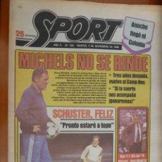 Coleccionismo deportivo: DIARIO SPORT Nº 348 4 NOVIEMBRE 1980 BARCELONA BARÇA SCHUSTER RINUS MICHELS BOSKOV . Lote 168185024